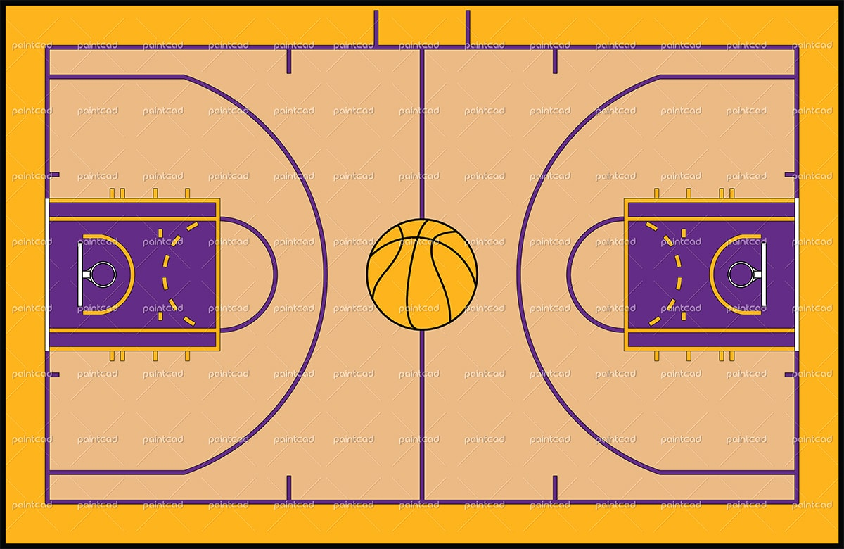 Basketball Court Drawing With Label At Getdrawings