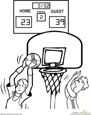 301x383 Basketball Court Coloring Pages