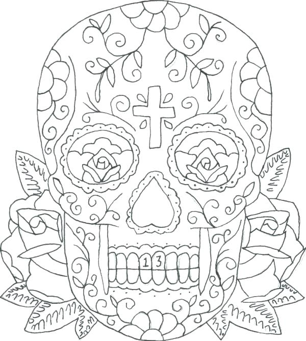 600x669 Flames Coloring Pages Coloring Sheets Skull Rose Flame Skull