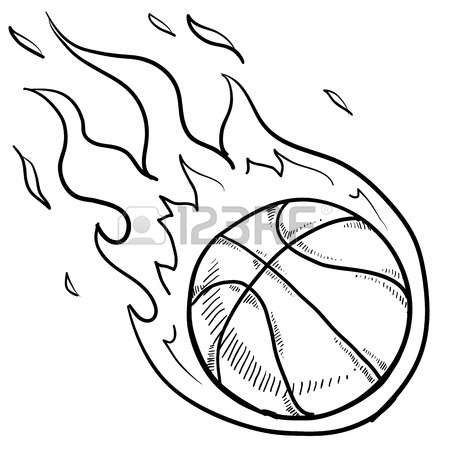 450x450 Collection Of Basketball On Fire Drawing High Quality, Free