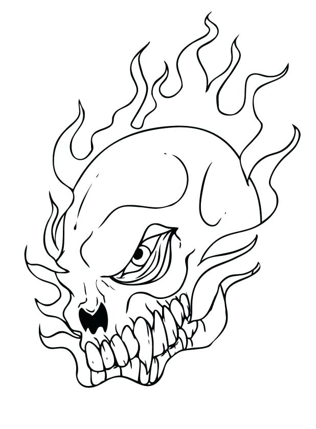 618x838 Coloring Pages Skulls Flames