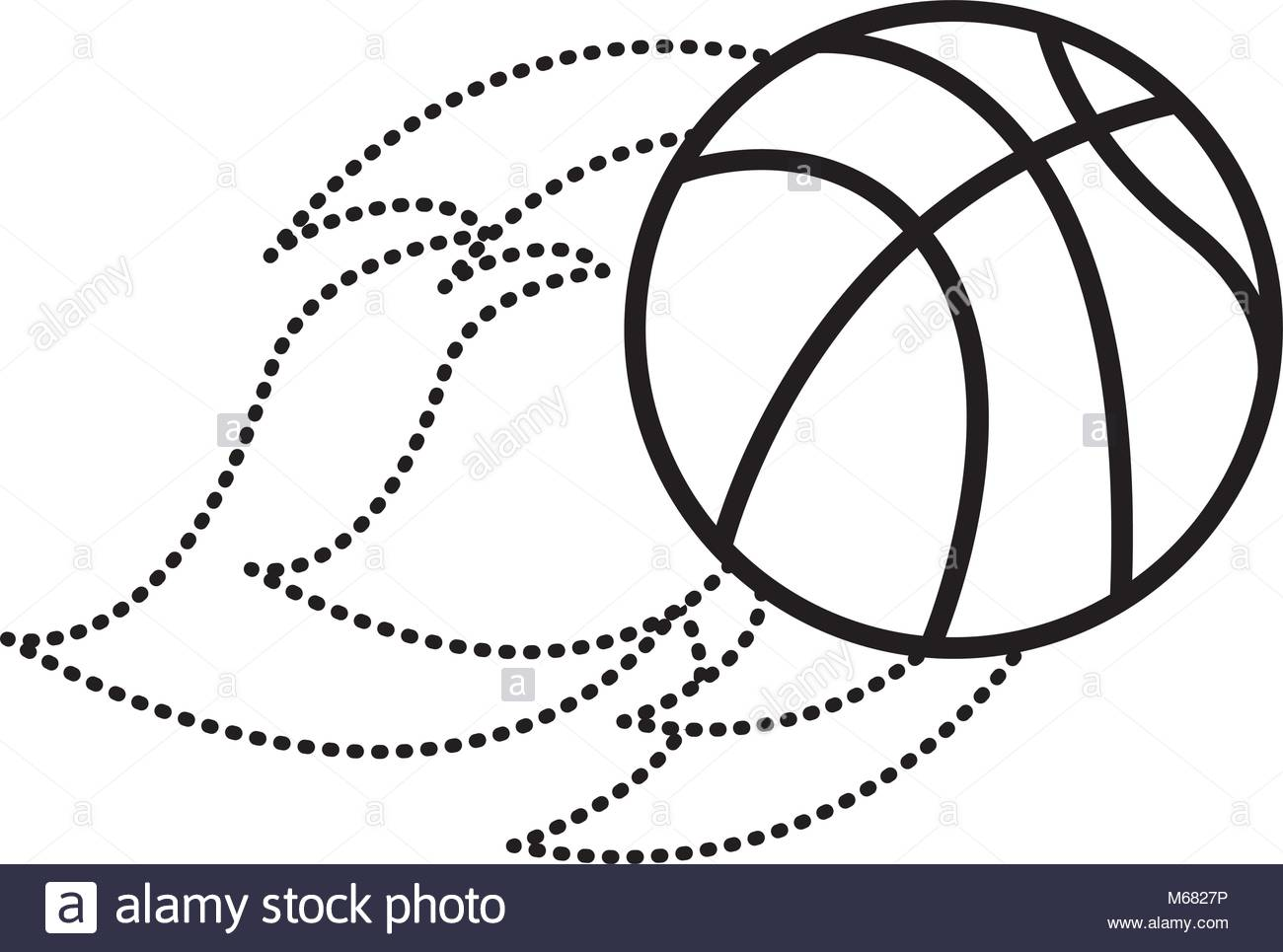1300x965 Flying Ball Basketball On Fire Sport Vector Illustration Dotted
