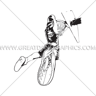 385x385 Basketball Dunk Fire Production Ready Artwork For T Shirt Printing