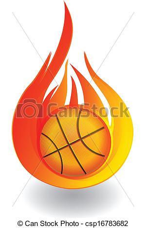 300x470 Basketball On Fire Logo. Basketball On Fire Graphic Design Vector.
