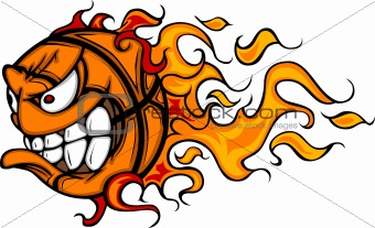 340x207 Image 4172488 Flaming Basketball Face Vector Cartoon