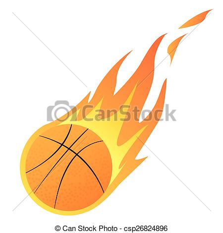 450x470 Vector Illustration Of A Basketball In Fire Isolated On White.
