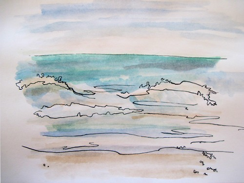 500x375 Collection Of Beach Drawing Tumblr High Quality, Free