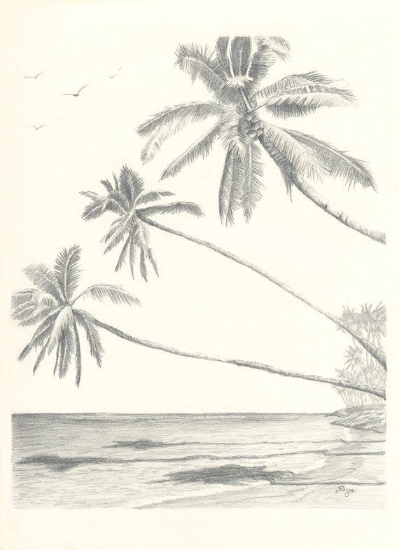 570x785 Hawaii Paradise Three Palm Tree Beach Pencil Drawing Print