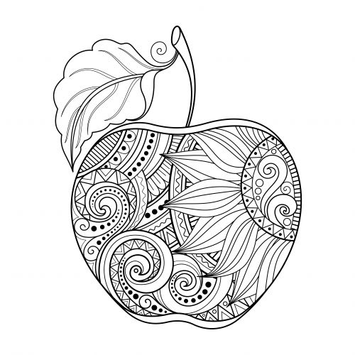 500x500 Apple Coloring Page. This Beautiful Apple Coloring Page