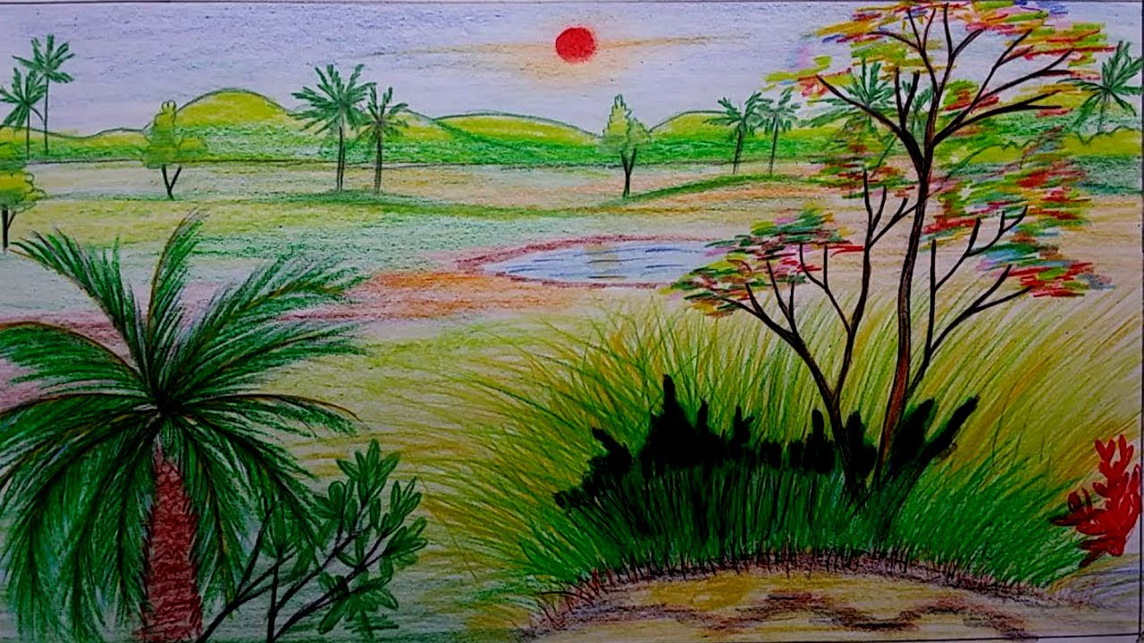 1280x720 How To Draw A Beautiful Nature Scenery Using Oil Pastel Colors