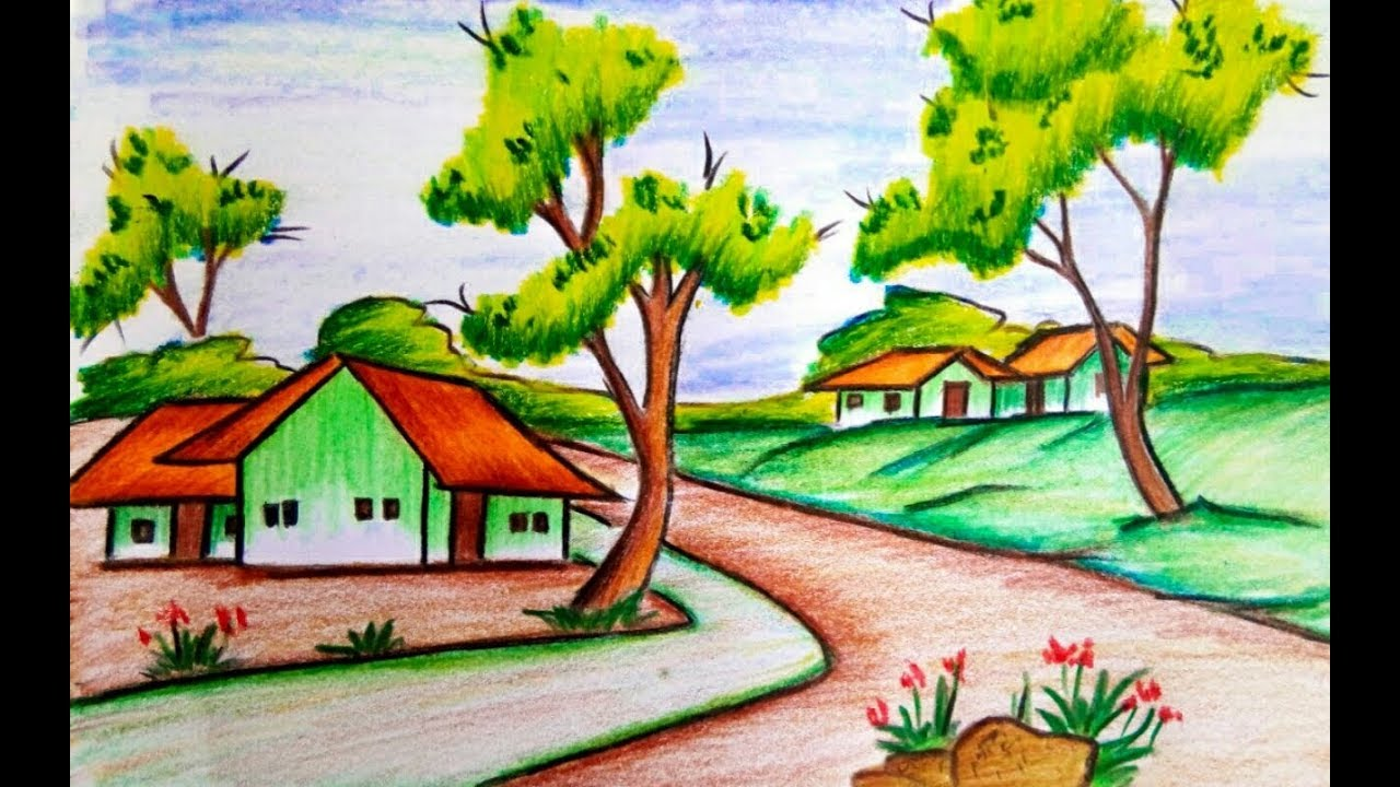 1280x720 How To Draw A Village Scenery Of Beautiful Nature Step By Step