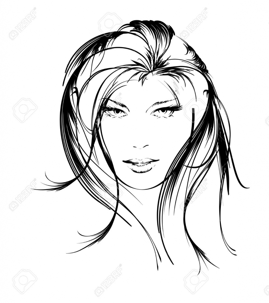 910x1024 Black And White Sketches Woman Face Beauty Girl Face Royalty Free