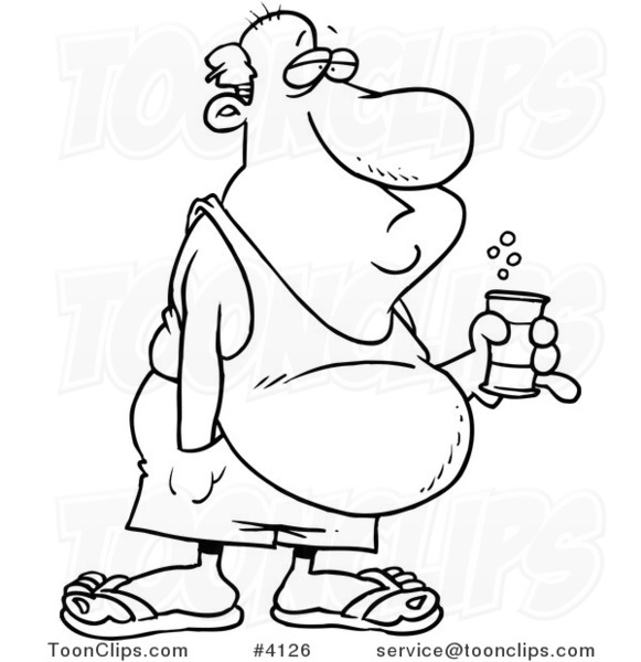 581x600 Cartoon Black And White Line Drawing Of A Guy With A Beer Belly