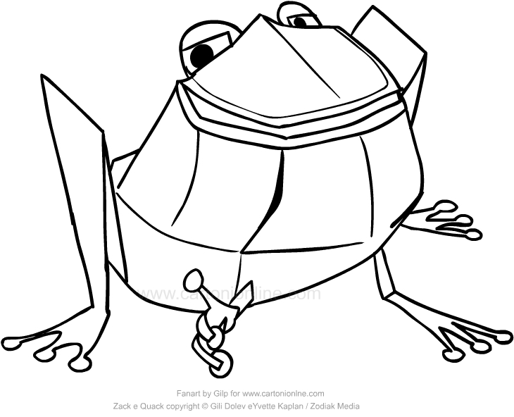 730x592 Drawing Belly Up The Bullfrog Of Zack Amp Quack Coloring Page