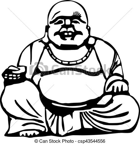 450x462 Happy Buddha With Big Belly Clipart Vector