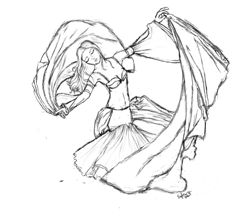 800x748 Belly Dancer Sketch By Milkywaysora