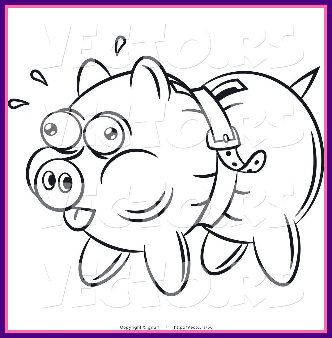 1074x1094 Stunning Vector Line Drawing Of A Piggy Bank Being Squeezed Tight