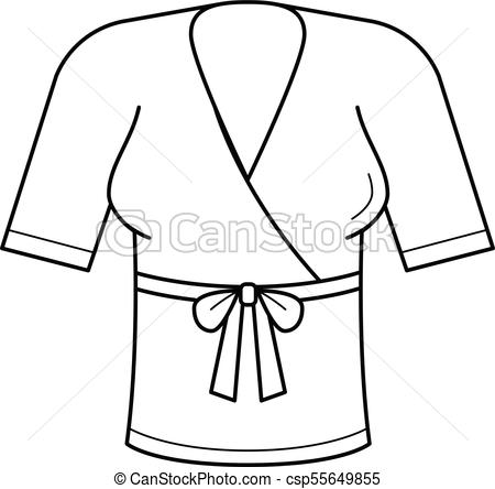 450x444 Woman Blouse Vector Line Icon. Woman Blouse With Belt Line