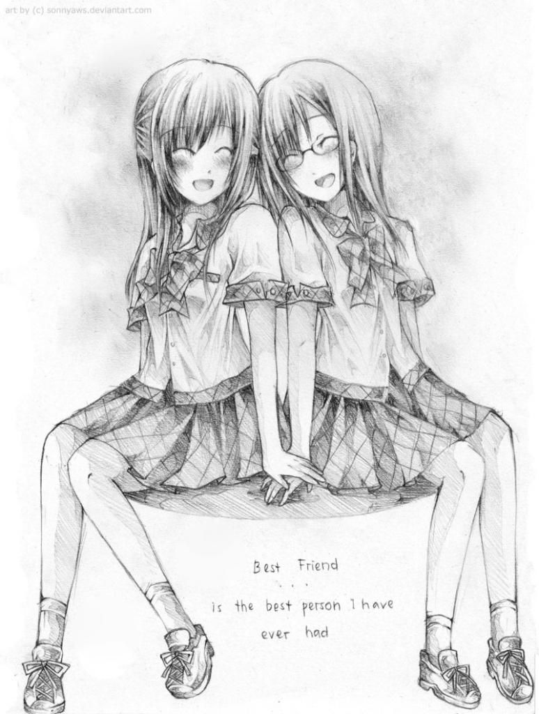 774x1024 Best Friend Pencil Drawing Anime Best Friends Drawings Best Pencil