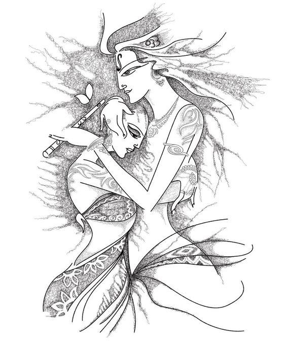 564x682 Radha And Krishna Pencil Sketches A Mythology Blog