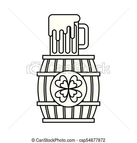 450x470 Wooden Barrel Clover With Beer Glass Beverage Vector Vectors