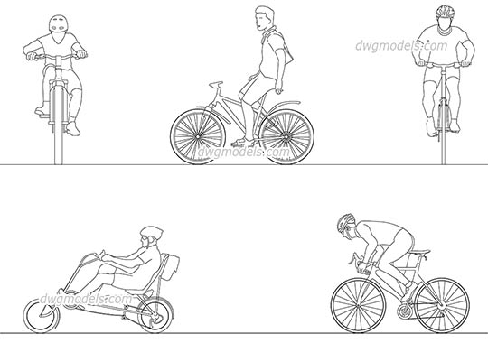 540x380 People Ride A Bicycle Cad Blocks, Autocad Models Download