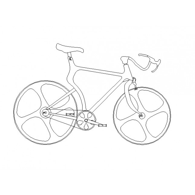 645x645 Road Bike Cad Dwg Download