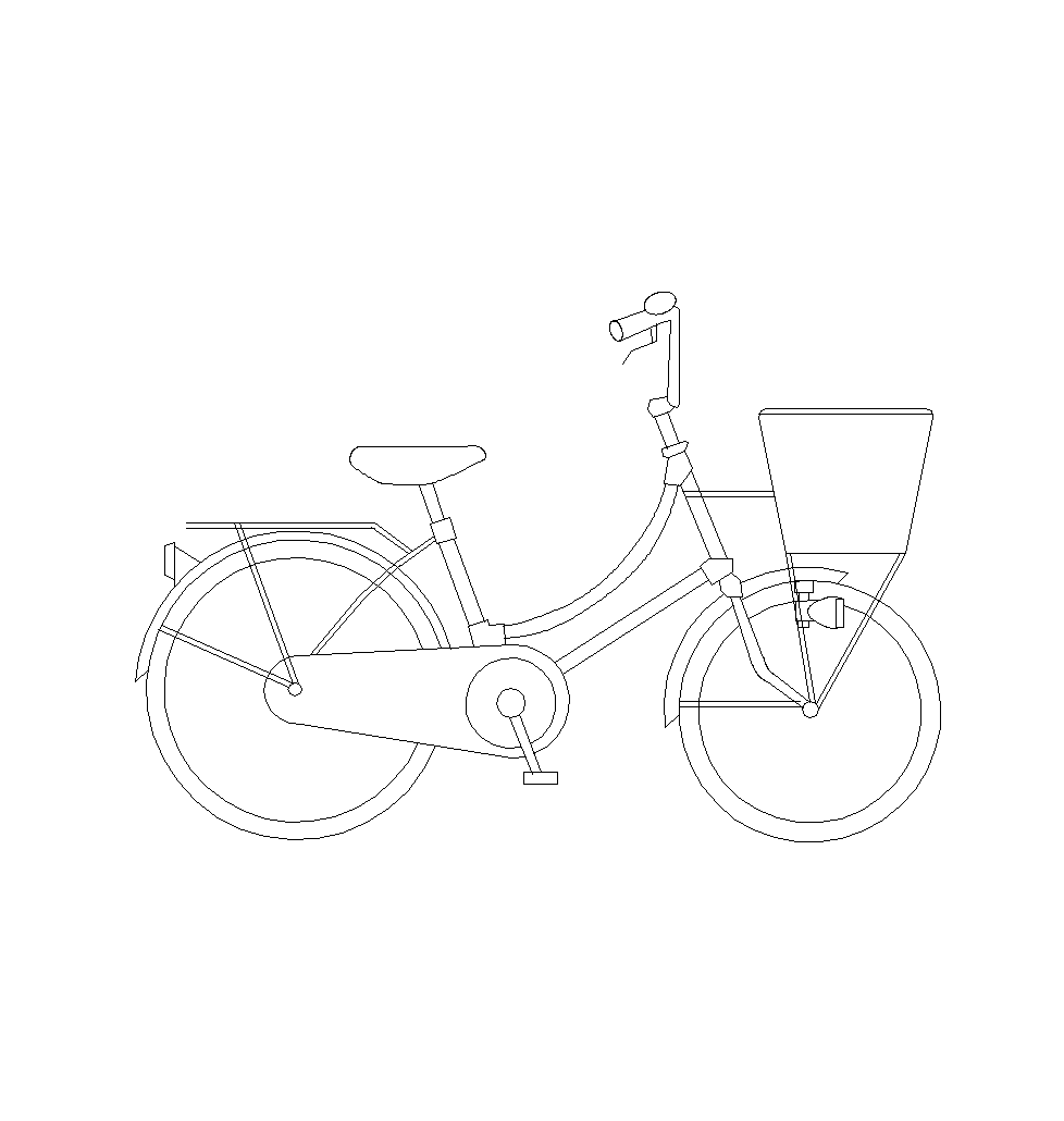 978x1030 2d Cad Drawing Of A Bike With Basket. Cad Blocks Free