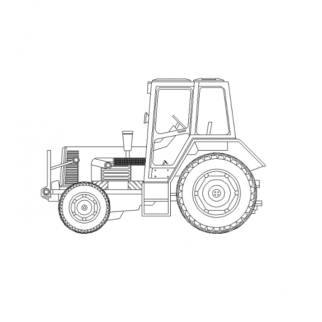 645x645 2d Cad Tractor Elevation
