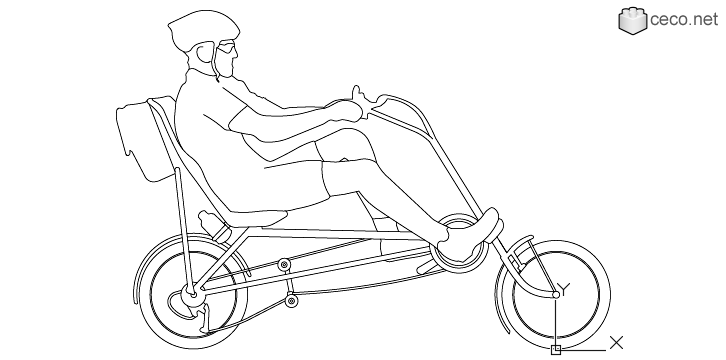 726x360 Autocad Drawing Recumbent Bicycle For Adults Men Dwg