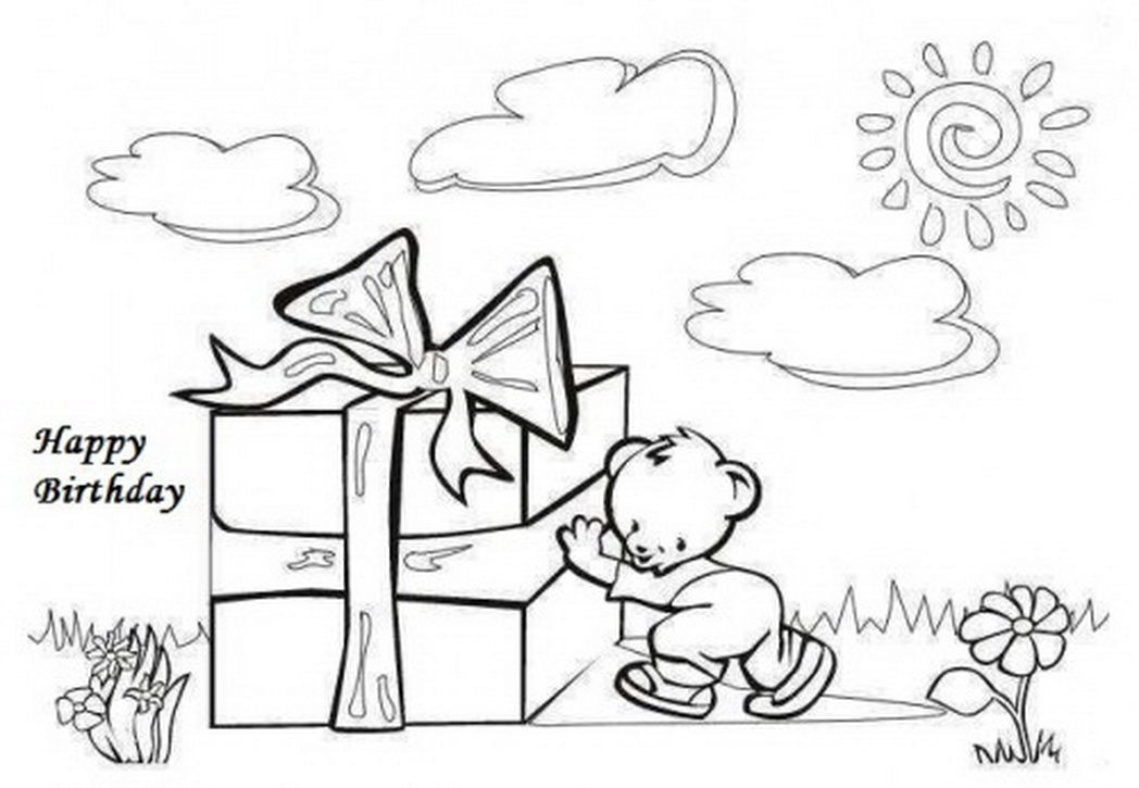 1048x725 Birthday Cards Coloring Pages Free Awesome Birthday Card Drawing