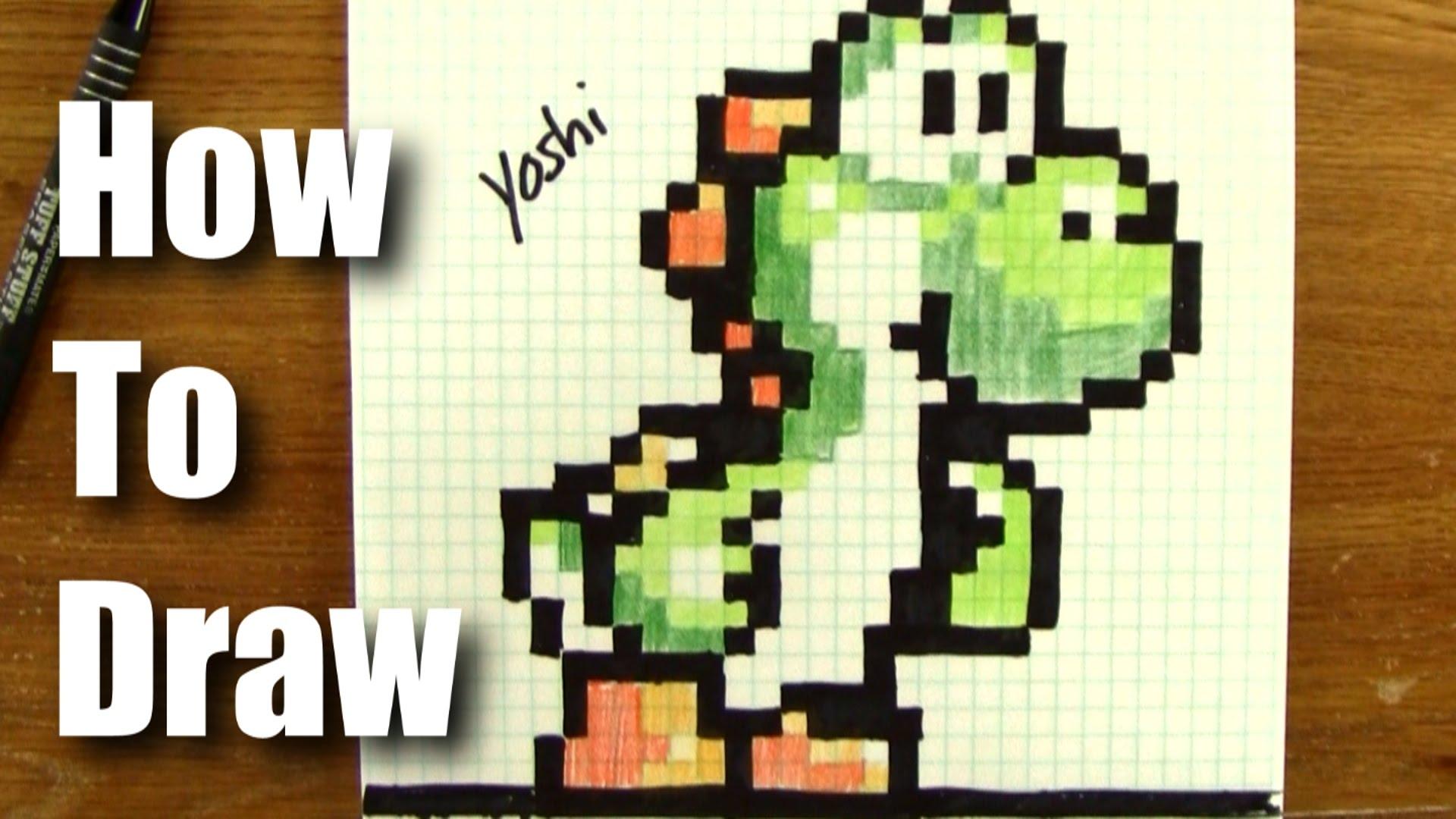 1920x1080 How To Draw Pixel Art Yoshi From Mario!