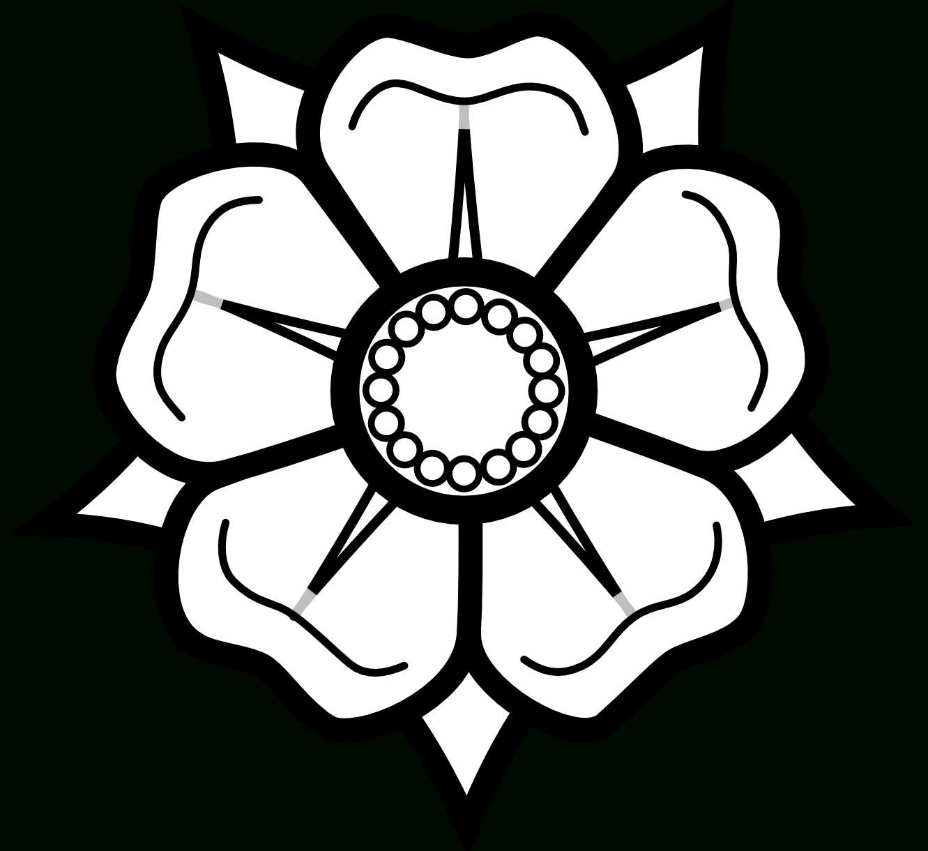 1331x1220 Line Drawing Of Rose Flower Heraldisch Lippische Rose Black White