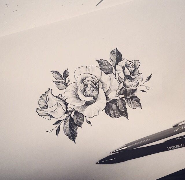 640x625 Simple Flower Tattoo Desi On Drawing Black And Grey Rose Tattoo