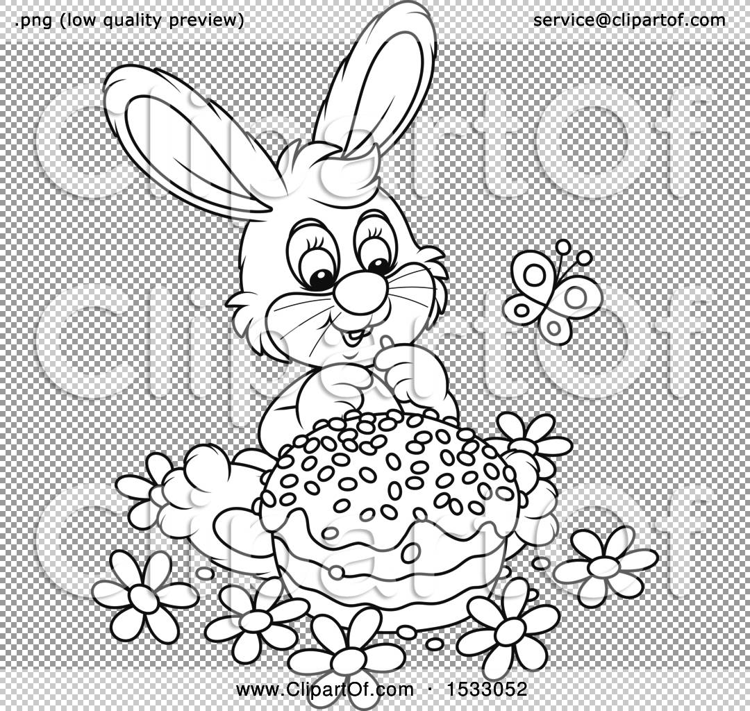 1080x1024 Clipart Of A Black And White Bunny Rabbit With An Easter Cake