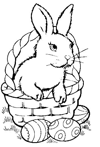 352x514 Bunny In Egg Picture White, Bunny, Bunny And Basket, Bw, Colored
