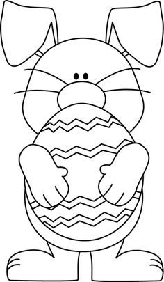 236x405 Black And White Easter Bunny Hugging An Easter Egg Line Drawings