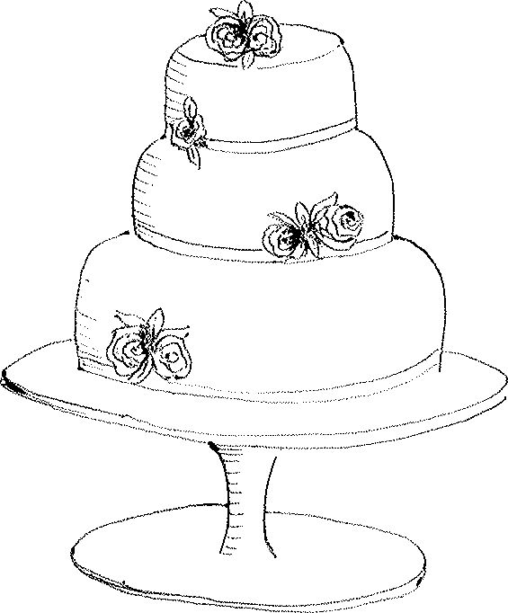 Black And White Cake Drawing