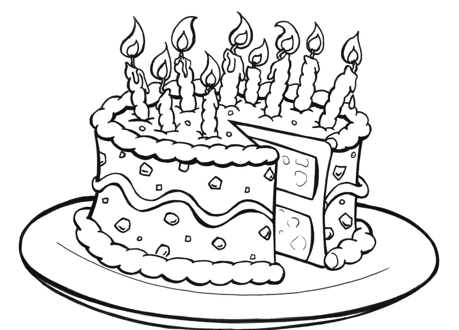 1600x1149 Birthday Cakes Images Black White Birthday Cake Coloring Page