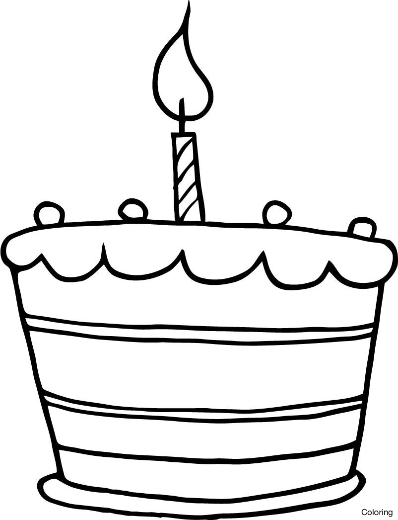 802x1046 Cake Drawing Easy Simple Birthday Cake Drawing Color Pages
