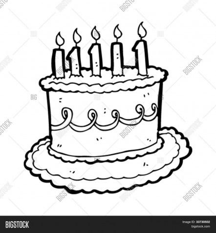 442x478 Cartoon Birthday Cake Black And White Halloweenrecipes.us