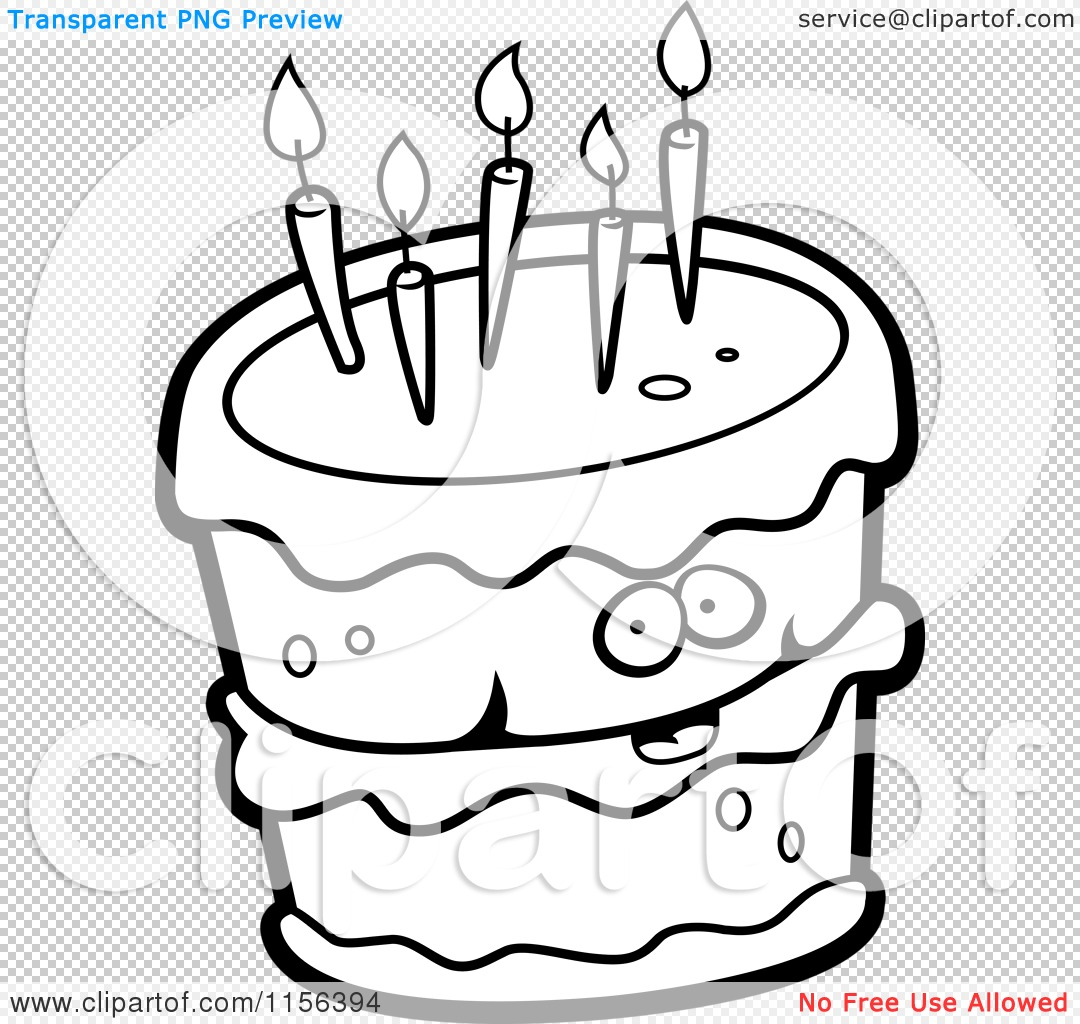 1080x1024 Cartoon Clipart Of A Black And White Birthday Cake Character