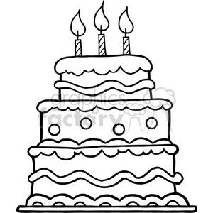 300x300 Royalty Free Black White Birthday Cake 384331 Vector Clip Art