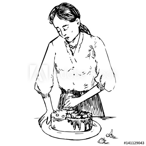 500x500 Young Beautiful Housewife Decorating Cake With Berries, Hand Drawn