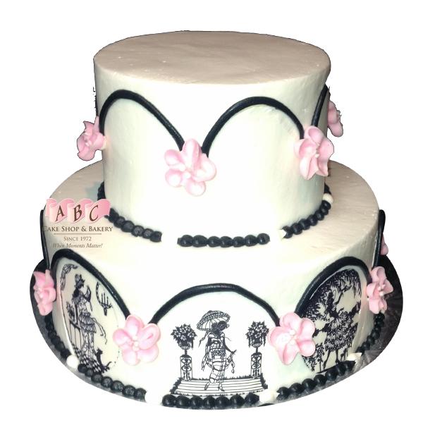 600x600 1904) 2 Tier Wedding Cake With Black Elegant Drawings