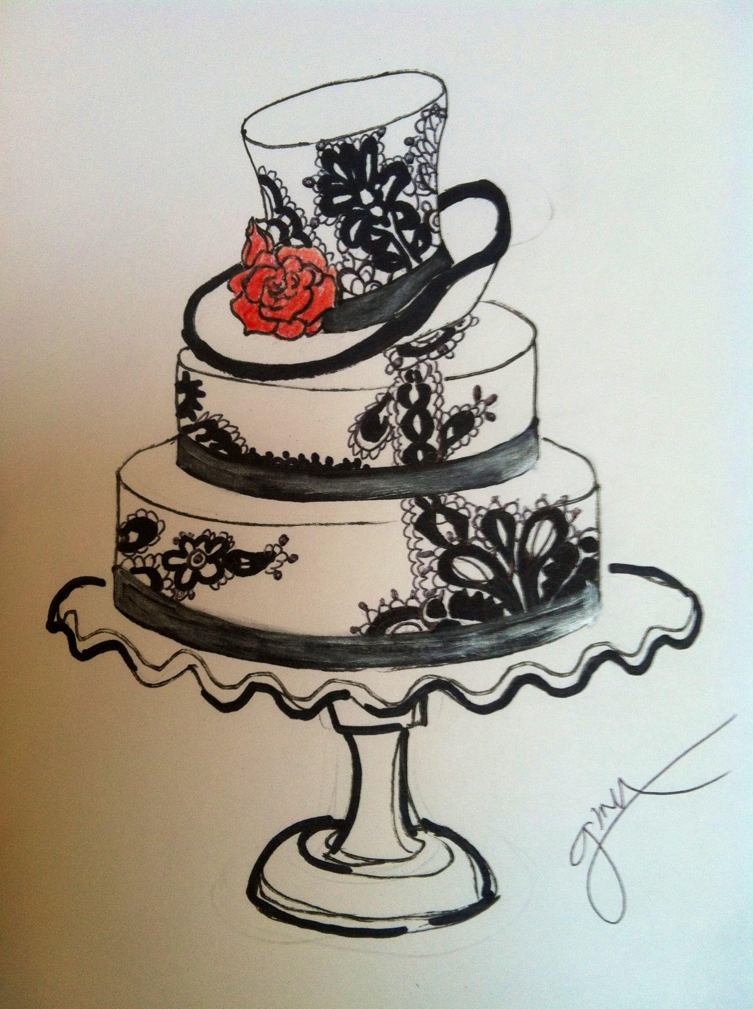 1529x2048 Black And White Wedding Cake Sketch Black And White Wedding