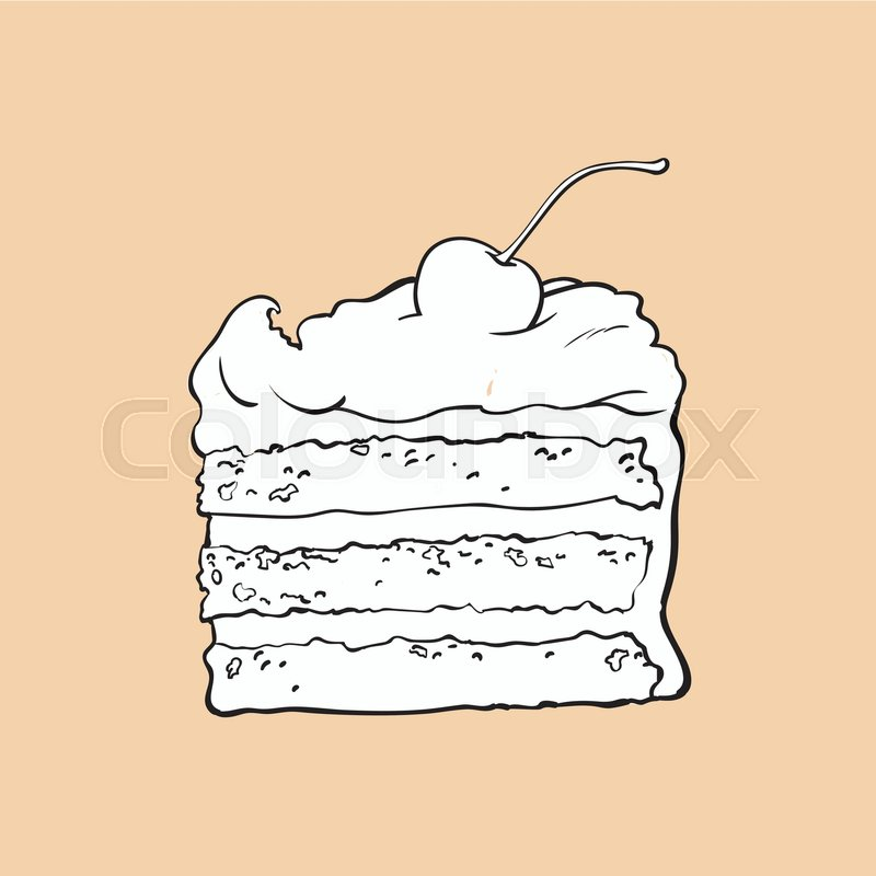 800x800 Black And White Hand Drawn Piece Of Classic Layered Cake