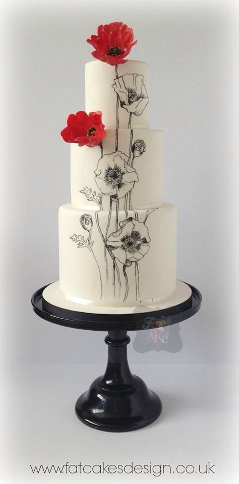 474x960 Black And White Hand Painted Red Gumpaste Flowers Cakes