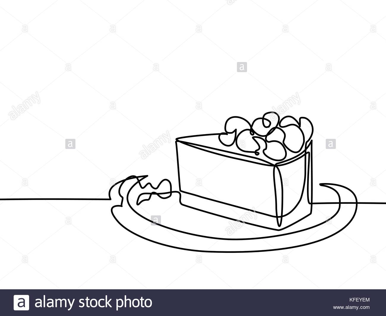 1300x1065 Continuous Line Drawing Of Piece Cake. Vector Illustration Black