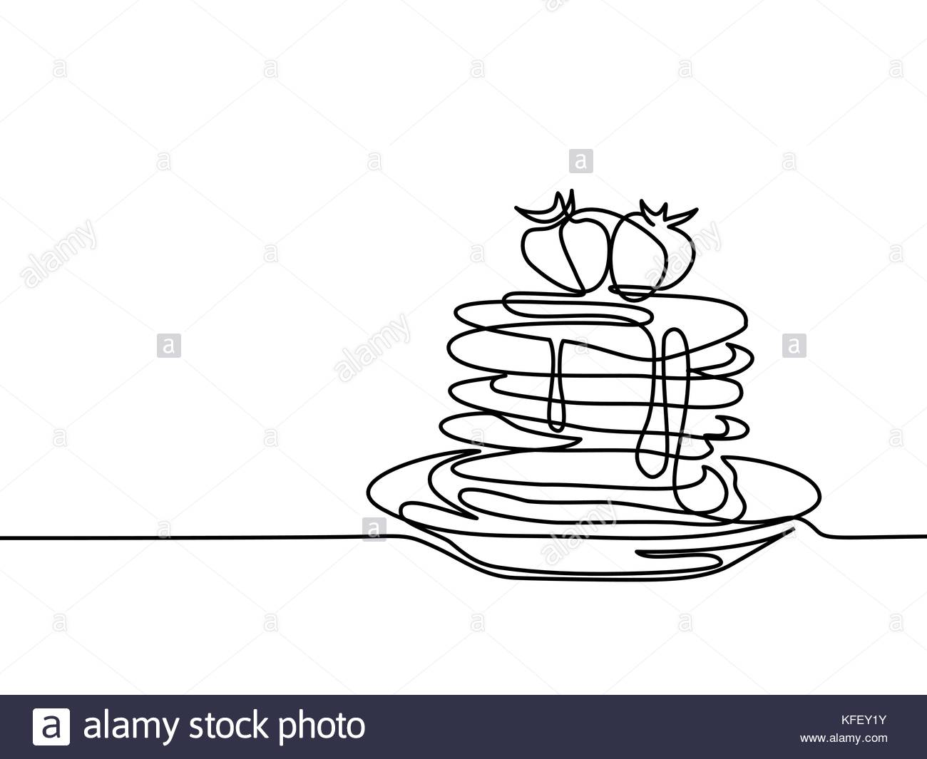 1300x1065 Continuous Line Drawing. Pancakes With Strawberry Jam On Plate